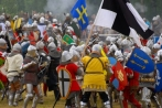 Europe; Poland;  staging of the Battle of Grunwald  in July 2008; Grunwald; knight; banner; battle